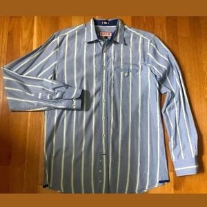THOMAS PINK Blue/White Stripe Slim Fit Dress Shirt